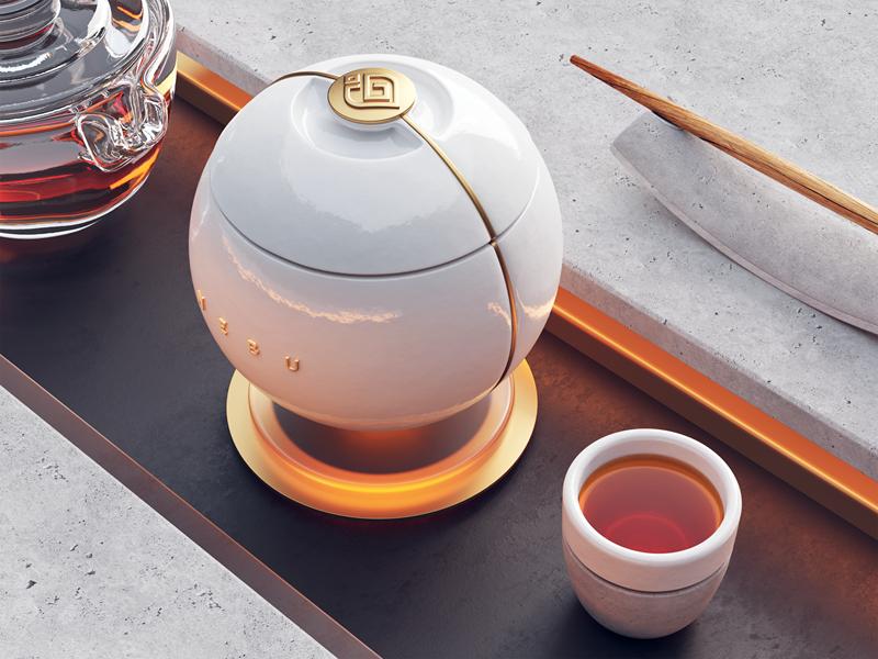 NEBU / Tea packaging sign icon modern water tea packaging gold metal branding logotype wood stone