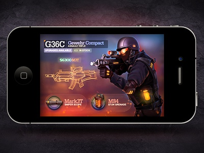 Tactical shooter iphone ui game war army light wall shadow unit icon illustration sketch prototype upgrade navigation menu infodof