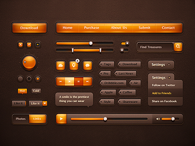 Orange Ui Pack kit ui pack orange web design button scroller tag list like player leather box message search navigation check volume glass interface glossy