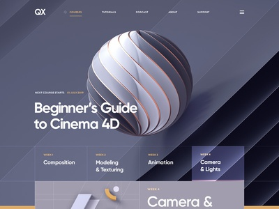 C4D Essential Training / Part 2 illustration flat cinema 4d wireframe ui  ux typography grid navigation courses portfolio 3d design site web