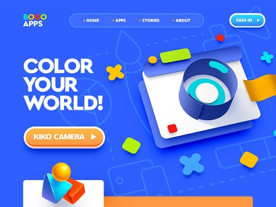 Bogo Apps / Web site design school academy app typography character flat 3d 2d icon illustration design site web