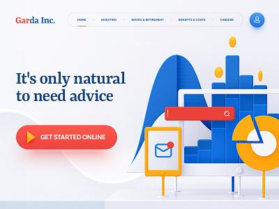 Garda Inc. flat adobe navigation typography design illustration web