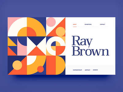 Ray Brown / Contemporary Abstract Art scroll swipe slider portfolio art animation navigation typography illustration web design