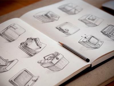 Sketch sketch illustration icons book paper pencil table calendar basket tv screen wallet prototype