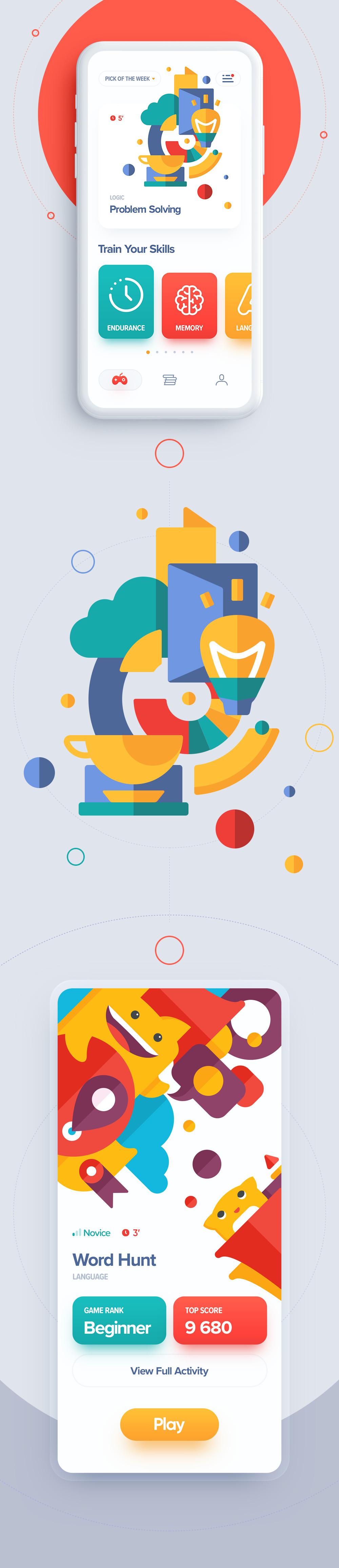 Ios game app design flat animation illustration