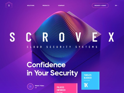 Scrovex / Cloud Security wireframe ux landing 3d site clean flat icon ui navigation design metal typography illustration web
