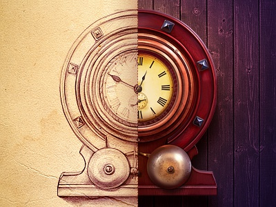 Clock clock wood atmosphere paper sketch rusty old icon illustration steampunk hour time metal wall