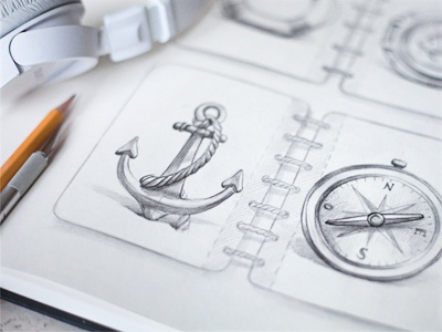 Sketch sketch icon design anchor pencil headphones paper rusty fish sea notepad compass concept
