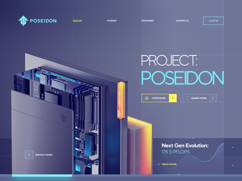 Project: Poseidon cinema glass metal ux logo ui navigation typography illustration web design sketch