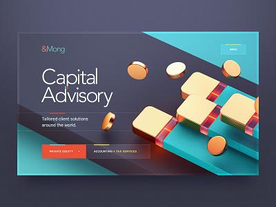 &Mong / Capital Advisory coin metal button design wireframe illustration typogaphy cinema 3d ux ui mobile site web web design