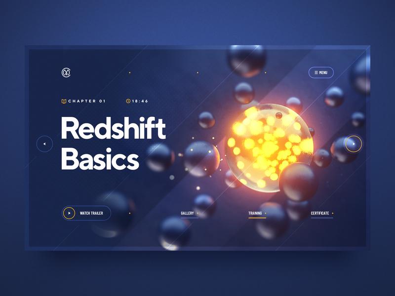 Redshift Basics / Patreon web design navigation tutorial glow cinema4d glass cinema 3d typography illustration web design