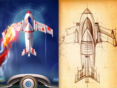 Arcade arcade game ios iphone interface screen sketch shooter navigation prototype plane fire glow scanner