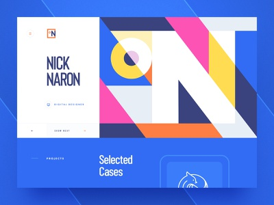 Nick Naron / Digital Designer geometry flat 2d site webdesign logotype branding typography vector ui illustration web design