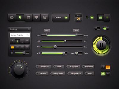 Interface kit knob black light web design button volume control glass box tag ios pack ui text size date status navigation play pause sound interface
