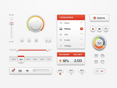 White Ui Kit ui kit pack white scroll button play bar slider volume knob light red clean interface data web switch search