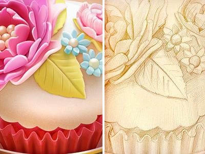 Cupcake (wip) illustration icon cake sweet flower leaf pearl paper cafe decor vintage retro sketch pencil old