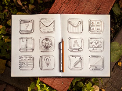 Icon set (sketch) sketch set icons package paper pencil prototype concept calendar book camera calculator flower card pen box wood photo iphone app ios bag letter pin mail