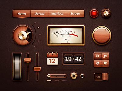 UI Kit interface ui kit button menu navigation screen glass wood metal gold steampunk light knob clock watch volume settings vu sound switcher lamp calendar flipper arrow