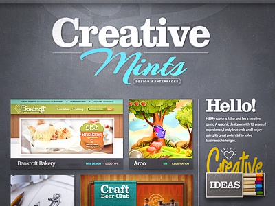 Portfolio portfolio interface personal site works project mints creative web design ui illustration color spray font