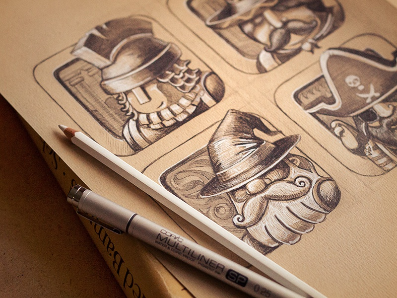 Chaps! character icon photo game prototype ios metal sketch concept pencil texture paper mage pirate
