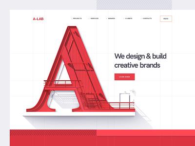 A•LAB Design studio website site 3d flat branding ux logo ui typography illustration web icon design