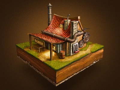 The Forge house tiny small icon game tile metal wood fire cute window rusty scratch stone grass road texures