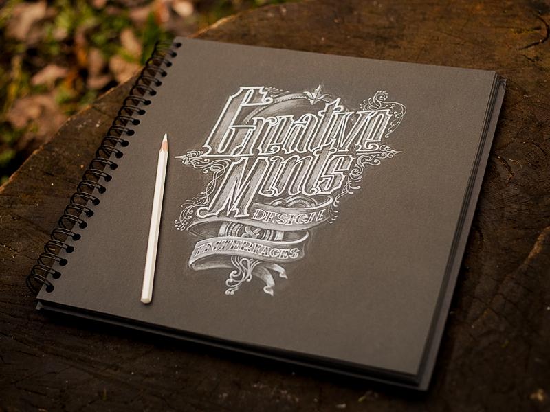 Typography (Creative Mints) logotype wood texture paper white black design sketch book pencil portfolio branding typography lettering graphic art