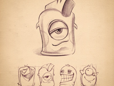 Characters characters alien cute small illustration sketch pencil paper old vintage eye skin glossy font hair light icon game