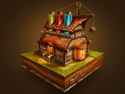 Magic Lab house tiny fantasy small icon game tile metal wood cute window rusty scratch stone grass road liquid poison magic elixir sketch texture