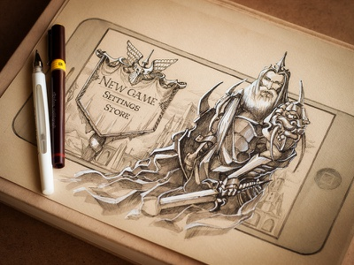 Knight iphone ios app gui sword game character menu button screen loading settings pen pencil sketch paper vintage old rusty knight interface navigation