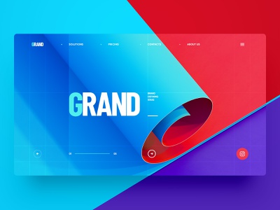 GRAND / Graphic Design geometry site portfolio ux ui branding minimal flat 3d paper typography illustration web design
