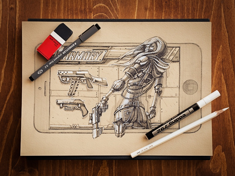 Armory metal girl weapon iphone ios app gui game character menu button screen loading settings pen pencil sketch paper hitech concept prototype