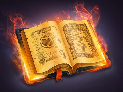 The Book book icon dribbble paper vintage sketch curse old rusty leather magic fire metal