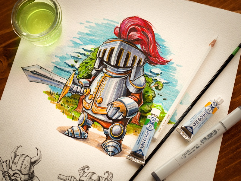 Chaps | 2 characters cute small sketch pencil illustration paper liquid game prototype metal gold three sword armor