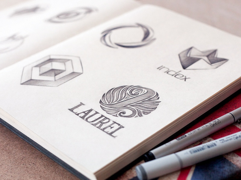Logos 2012 logotype sketch book pencil portfolio branding typography graphic symbol leaf line letter art 2012 cube