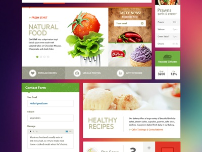 Ui Kit (Metro) design web design icon button ui text typography mail list slider interface food diet natural health form field metro style kit navigation news subscribe header flat