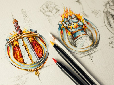 Talents game prototype ipad sketch rpg potion sword fire metal glow talent concept fist pencil illustration shine texture button icon