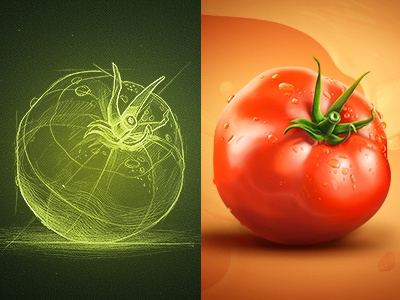Pomodoro icon tomato shadow illustration texture water drops liquid skin food sketch light process background