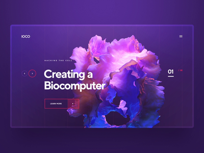 IOCO / Biocomputer minimal wireframe grid sci fi animation 3d ui ux logo typography illustration web icon design