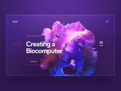 IOCO / Biocomputer minimal wireframe grid sci fi animation 3d ui ux logo typography illustration web icon design