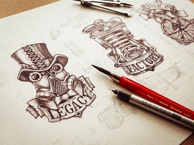 Sketch sketch paper logotype texture pencil branding typography illustration metal logo lettering photo camera hat leather font compas tag line blueprint art steampunk vintage old