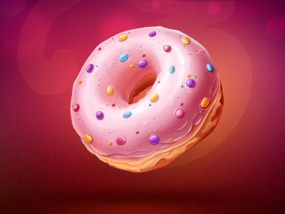 Donut illustration shine shadow texture donut glamour food cream syrup sweet bokeh blur dof caramel