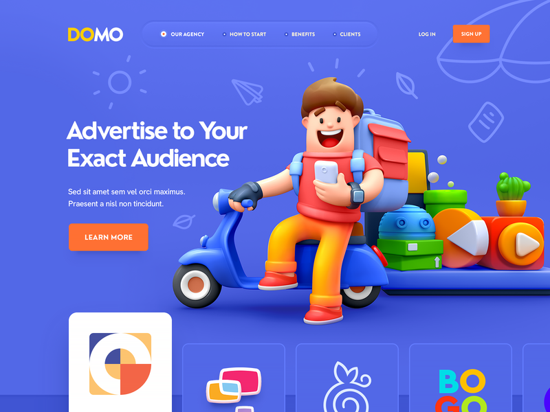 DOMO / SMM Agency web site site flat 3d character ux ui vector logo game illustration icon web design sketch