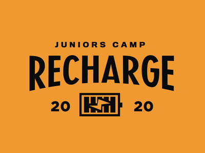 Recharge logo 2020 badge juniors electric battery charge kids retreat youth camp youthcamp lockup typography