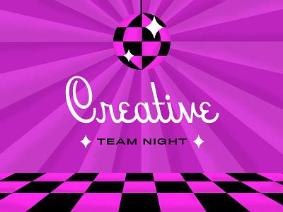 Disco Time purple texture tiles dancing disco ball disco typography illustration