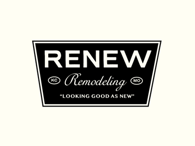Renew Remodeling construction retro badge type vector typography design branding lockup logo