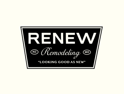 Renew Remodeling construction retro badge type vector typography design branding lockup logo