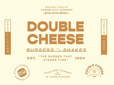 Double Cheese kansascity fast food shakes burger retro sticker badge type vintage vector design lockup logo branding typography