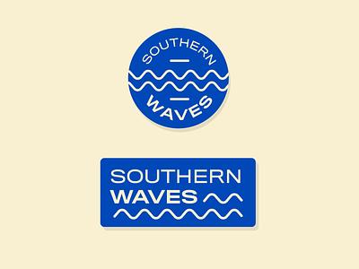 Southern Waves podcast type retro badge texture vintage typography lockup logo design illustration