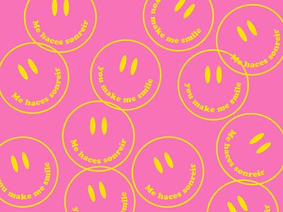 Smile badge sticker spanish happy smile type design lockup illustration typography